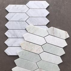 Add a touch of elegance to your bathroom with our Mini Kite Honed Marble Mosaics in Bianco Carrara and Pearl Jade. #featuretiles #mosaictiles #marblemosaics #marbletiles #bathroomtiles #kitchentiles Honed Marble, Marble Mosaic, Carrara, Mosaic Tiles, Mosaics, Room Tiles, Kitchen Tiles, Feature Tiles, Kite