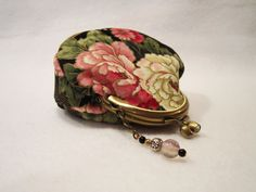 Change Purse, Coin Purse, Coin Pouch, Black and Pink, Kisslock with Rhinestones by FelicitiesCrafts on Etsy