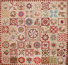 """THE MORRELL QUILT: 86"""" X 86""""This beautiful quilt was reproduced by Di Ford, of Primarily Patchwork fame, from an original by Sarah Morrell in the 1840s."""