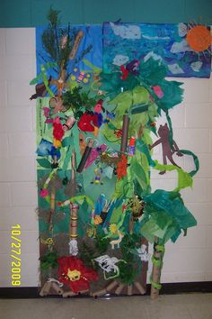yesssss about to teach the rainforest! :RAINFOREST lesson idea- each class could make different animal for mural