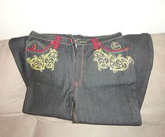 Mens Coogi Graphic Blue Jeans Loose Baggy Hip Hop Style size 38 clothing. Find me at www.dandeepop.com