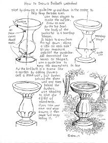 How to Draw Worksheets for The Young Artist: How To Draw A Birdbath Worksheet