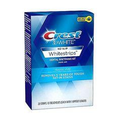 Crest White No Slip Whitestrips Classic Vivid Dental Whitening Kit - Tutto per l'igiene orale Teeth Whitening Methods, Best Teeth Whitening Kit, Natural Teeth Whitening, Skin Whitening, Crest 3d White, Tooth Sensitivity, Teeth Bleaching, 10 Count, Classic