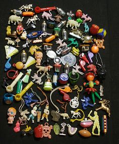 103 Vintage Cracker Jack/Gumball Lot/Charms/Toys/Celluloid-Metal-Plastic