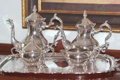 F B Rogers 5 Piece Silver Plate Tea Set - Coffee Pot - Teapot ...