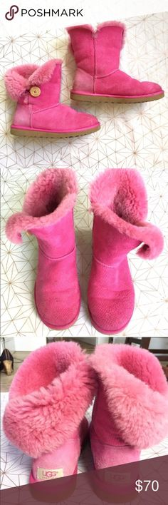 UGG pink Bailey Button size 8 uggs • authentic - Size: 8 - Condition: good used condition. Has dirt marks and little spots on the front. See photos. - Color: pink - Style: Bailey button uggs - Pair with: jeans or leggings, a north face, and a Starbucks cup - Extra notes: authentic UGG Shoes Winter & Rain Boots