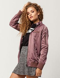 MEMBERS ONLY Satin Womens Bomber Jacket Purple
