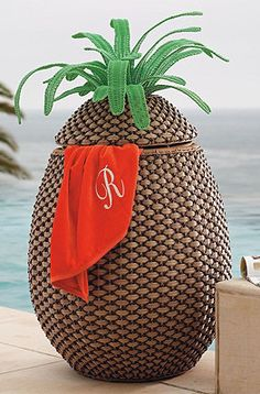 How cute is this @Andi Fisher Fisher Whitehead??? Pineapple Towel Hamper.