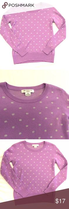 """listing! Lilac polka dot sweater Lilac pullover with gray polka dots. Worn once at the most. Size XS petite. Length 22"""" armpit to armpit 16""""100% cotton Liz Claiborne Sweaters Shrugs & Ponchos"""