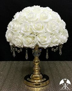 IVORY Rose Arrangement made with PREMIUM Real Touch Silk Roses. IVORY Wedding Centerpiece. Quinceaera. Sweet 16. Bridal Shower. PICK ROSE COLOR! 14 SIZE PICTURED.  GOLD STAND With CRYSTALS Sold Separately Flower Ball Centerpiece, Red Centerpieces, Mickey Centerpiece, Silver Centerpiece, Crown Centerpiece, Ivory Wedding, Peacock Wedding, Yellow Wedding, Luxury Wedding