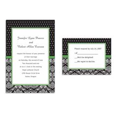 unique white and black damask green printable cheap wedding invites Wedding Invitations Online, Classic Wedding Invitations, Floral Wedding Invitations, Bridal Shower Invitations, Invites, Black And White Wedding Theme, Green Wedding, Wedding Frames, Wedding Cards