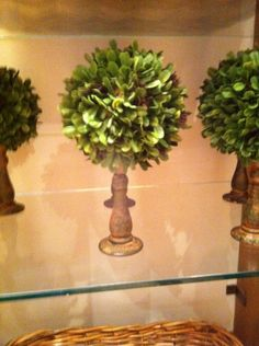 topiary ball on top of a candle stick... how easy would this be... saw this at pottery barn!