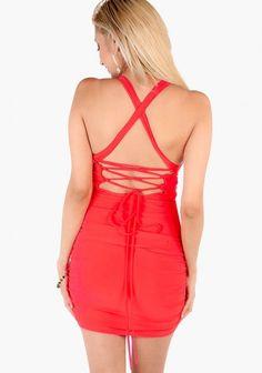 Open Tied Back Pleated Dress
