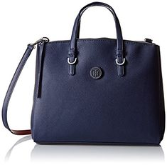 Women's Top-Handle Handbags - Tommy Hilfiger Mara Shopper Satchel Bag NavyRed One Size ** Click image for more details.