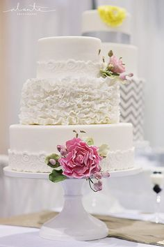 White ruffle wedding cake from The Sweet Side, Seattle  Photo: Alante Photography