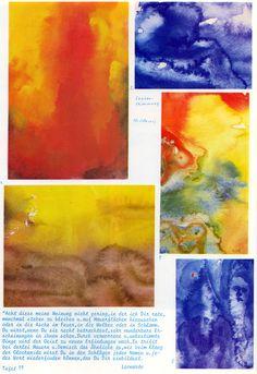 Tafel 79: Seelenstimmungen (10. Schuljahr) [oben links: 1. zerfliessende Farben Rot und Gelb und etwas Schwarz (nass in nass) oben rechts: 2. zerfliessende Farben Blau und Weiss (nass in nass) unten links: 3. zerfliessende Farben Braun und Gelb (nass in nass) Mitte rechts: 4. zerfliessende Farben Gelb, Blau und Rot mit Mischfarben Grün und Orange unten rechts: 5. zerfliessende Farben Blau und Weiss mit rotem Fleck]