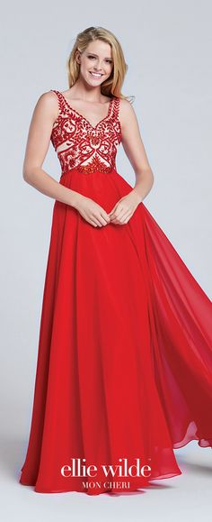 Prom Dresses 2017 - Ellie Wilde for Mon Cheri - Sleeveless Red Chiffon Prom Dress with Hand-Beaded Bodice - Style No. EW117050