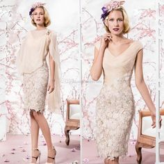 2015 Beige Mother Of The Bride Dresses Cheap V Neck Knee Length Applique Lace With Shawl Wedding Party Cocktail Formal Evening Dress Gowns Mother Of The Bride Plus Size Dresses With Jackets Mother Of The Groom Dresses For Summer Outdoor Wedding From Sweet Life, $103.67| Dhgate.Com