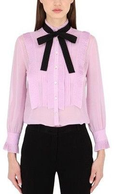 Ruffled Georgette Pearl Button Blouse