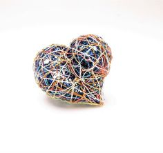 Blue heart ring, blue orange ring, adjustable, wire heart ring, modern, large, art ring, sculpture jewelry, valentines day gift for wife Heart Jewelry, Jewelry Art, Heart Art, Heart Ring, Modern Hippie Style, Unique Valentines Day Gifts, Handmade Wire, Blue Rings, Large Art