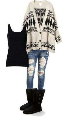 Ripped jeans with a tank and cardigan, paired with some boots. Or even a scarf instead of the cardigan. :)
