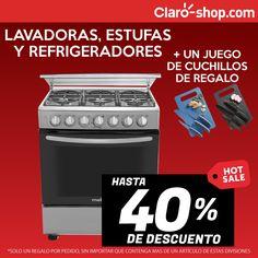 Hasta 40% de descuento en lavadoras, estufas y refrigeradores y un juego de cuchillos de relao en tu compra.