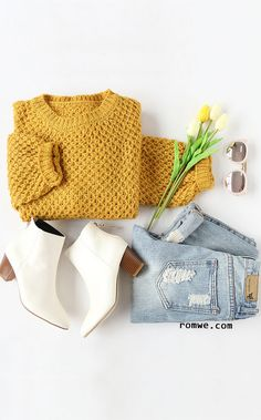 Yellow Round Neck Drop Shoulder Sweater with ripped denim and white boots from romwe.com