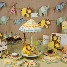 Jungle safari baby shower theme - in pastels  #junglesafaritheme #boybabyshower #jungleanimalsbabyshower