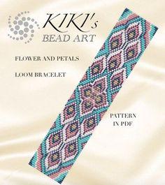 Bead loom pattern flower and petals LOOM bracelet cuff