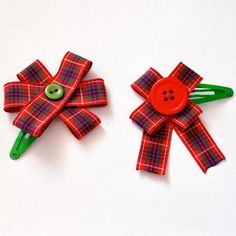 Red & Green Tartan Hair Clips Bows by WillowsRoom on Etsy, £4.00