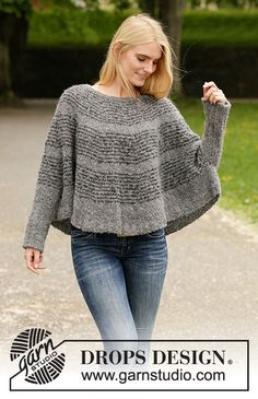 Seashell search / DROPS - free knitting patterns by DROPS design, Knitted poncho sweater in DROPS Alpaca Bouclé. The piece is worked from top to bottom with round yoke and stripes. Sizes S - XXXL. Knitting Terms, Knitting Patterns Free, Free Knitting, Free Pattern, Crochet Patterns, Capelet Knitting Pattern, Poncho Pullover, Poncho Sweater, Drops Design