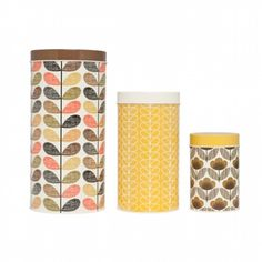 Orla Kiely Set of 3 canisters - brown/yellow - hardtofind.