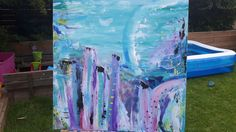 Abstract acrylic painting. Pastel colors