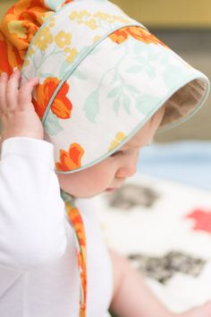 It is easy to find baseball caps for little boys, but this cute little bonnet is a DIY for little girls who are light senstive.