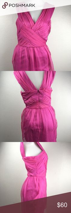 Topshop Cross Front Dress Size 4 Topshop Criss Cross Topped Dress Formal Pink (Topshop Color BPK) Style #10P14A Lined Crepe Outer Women's Size UK 8 US 4 NWT MSRP $300 See picture for snag in the crepe; a couple smaller snags in skirt Topshop Dresses Mini