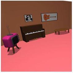 @ashley.pavlovic's dream living room also has a retro TV, a self portrait, framed guitar + 3 plants!!