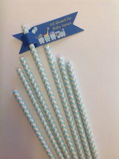 Pale Blue and White Striped Party Straws with Blue Animal Train Themed Tag. 754-223-2950 www.fortlauderdaleinvitations.com   #fortlauderdaleinvitations #ftlauderdaleinvitations #fortlauderdale #fortlauderdaleweddingvendor #weddingvendor #weddings #huffpostido #ido #stationary #invitations #tablenumbers #classy #elegance #business #etsyfinds #etsystore #etsyshop #shopsmall #shopsmallbusiness #borntobecreative #sendmoremail #snailmail #letterpressed #foilstamped #stationaryaddict #thatsdarling