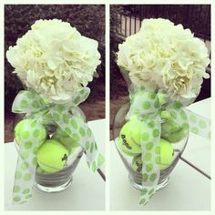 Tennis centerpiece - added small cup for flower/water to rest on top of the balls, very easy and cute!