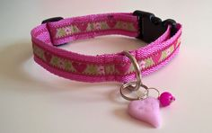 Lovely pink dog collar with charms by DoGATAilla on Etsy