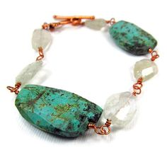 Genuine Turquoise & Aquamarine Gemstone Plus Size Bracelet |10 inches