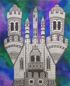 Middle School Art Lessons | Zentangle Castles with Watercolor Middle School Lesson | art ideas
