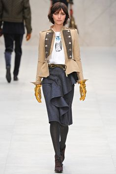 Burberry , love this whole look, skirt, jacket, gloves
