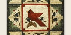 It's Also a Lovely Gift for Anyone Who Enjoys Quilts! This beautiful cardinal will light up your home all winter long. Or, display it for Christmas every year to add a touch of nature to your decor. Log Cabin blocks and a simple pieced bird in the center give this quilt lasting appeal. The pine …