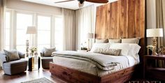 To soften the volume of the master bedroom, Belding enlisted Skylar Morgan and Charles Calhoun to design a massive walnut headboard encased in steel. Custom side tables by Skylar Morgan Furniture and Design (SMFD). Bollicina lamps, Donghia. Shirvan Russian rug, Sullivan Fine Rugs. The bed linens are by Libeco, available through Nicholson Gallery.