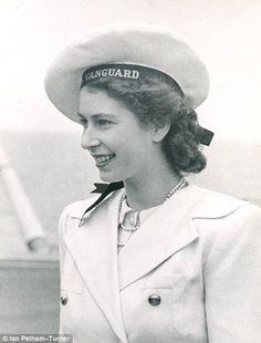 Princess Elizabeth (later Queen Elizabeth II) on board the Royal Navy aircraft carrier HMS Implacable during a visit by the royal family from HMS Vanguard, which is taking them to South Africa, February Elizabeth Taylor, Queen Elizabeth Ii, Elizabeth Young, Ute Lemper, Royal Navy Aircraft Carriers, Prinz Philip, Die Queen, Style Royal, Royal Families