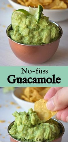 7 ingredients come together in less than 5 minutes. This no-fuss Guacamole is my go-to for parties or as a snack at home. Healthy Gluten Free Recipes, Healthy Food, Breakfast Nachos, Taco Salad Bowls, Pulled Pork Tacos, Love Eat, Main Meals, Clean Eating Recipes, I Foods