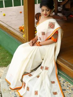 Buy this Latest White-Orange Colored Festive Wear Georgette Saree For Ladies At Lowest Prices From Daarce Fashion Set Saree, Saree Dress, Sari Blouse, Traditional Blouse Designs, Traditional Outfits, Indian Dresses, Indian Outfits, Kerala Traditional Saree, Kerala Saree Blouse Designs