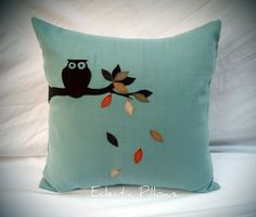 Fall Leaves, Owl, purchased pillow.  Bird theme and hand applique?