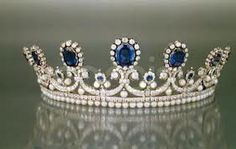 Sapphire, Pearl, & Diamond tiara. Belonged to Queen Marie-Amelie; set includes earrings & brooches. French Royal jewel Collection.