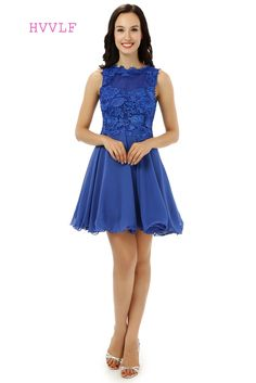 3fbf8195d71 HVVLF 2017 Homecoming Dresses A line Sweetheart Short Mini Royal Blue  Chiffon Lace Cocktail Dresses Real Photos-in Homecoming Dresses from  Weddings   Events ...